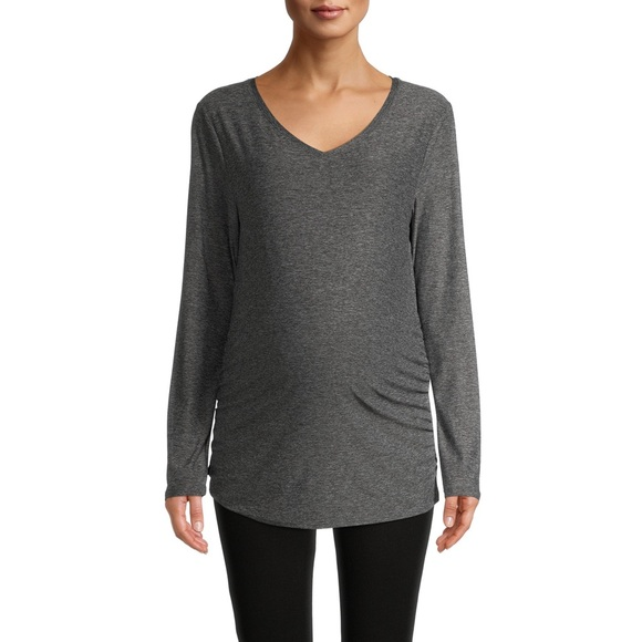TIME AND TRU Maternity Long Sleeve Gray T-Shirt 2X